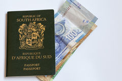 South African Passport with Currency Notes Stock Images