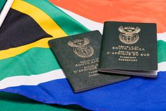 South African passports on flag stock photo