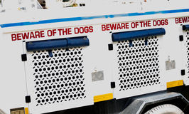 South African Police Service K-9 warning sign on vehicle Stock Image
