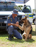 South African Police Service Officer with K-9 dog Stock Image