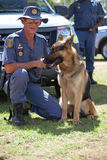 South African Police Service Officer with K-9 dog Royalty Free Stock Images