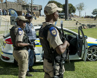 South African Police Service - Policemen with rifles Stock Photos