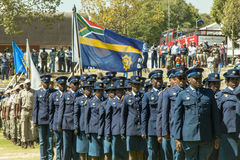 South African Police  Services on Parade in the arena with SAPS flag flying unfurled in the wind Royalty Free Stock Photos