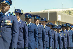 South African Police  Services on Parade - closeup of officers Stock Photo