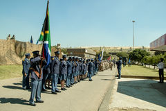 South African Police  Services on Parade with flag furled. South African Police  Services on Parade with furled flag Stock Image