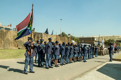South African Police  Services on Parade with Flag unfurled. South African Police  Services on Parade with Flag Royalty Free Stock Photo