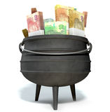 South African Potjie Filled With Rands. A regular cast iron south african potjie pot with a steel handle filled with bundles of south african rand notes on an Royalty Free Stock Image