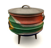 South African Potjie Pot Painted Flag Royalty Free Stock Photography