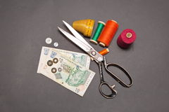 South African Rand and  accessories for cutting and sewing. Can you make money sewing. South African Rand and  accessories for cutting and sewing Stock Images