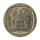 5 south african rand coin 2004 reverse. Isolated on white background royalty free stock photos