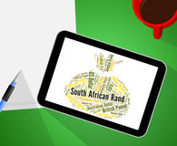 South African Rand Indicates Exchange Rate And Coinage. South African Rand Showing Currency Exchange And Words Stock Photo