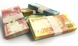 South African Rand Notes Bundles Stack Stock Images