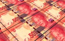 South african rands bills stacks background. Royalty Free Stock Photo
