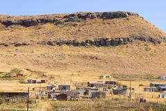 South African shantytown. Shantytown to the road to Drakensberg District, South Africa. Poverty and decay dragons mountain drakensberge great escarpment stock images