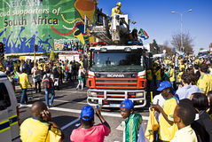 South African Soccer Fans Mob the Streets. Football frenzy at Bafana celebration Stock Photography