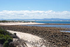 South African south coast. Overview of the coastline close to Struisbaai, South Africa royalty free stock photography