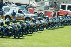 South African Traffic Police Motorbikes in a row. Various departments South African Traffic Police Motorbikes in a row with a van and a firetruck Royalty Free Stock Photo