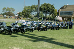 South African Traffic Police with a row of Motorbikes Stock Photography