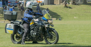 South African Traffic Policeman on a  Motorbike Royalty Free Stock Image