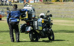 South African Traffic Policeman`s Motorbike Royalty Free Stock Images
