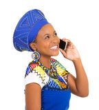South african woman cell phone Stock Photo