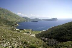 South albania coast balkans. South albania balkans ionian coast europe old navy base Royalty Free Stock Image