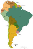 South america 01. A full color map of south america with the country names called out Stock Image