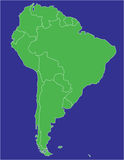 South america 02. A basic map of south america with the countries in green and a blue background Royalty Free Stock Photography