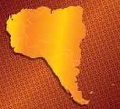 South america 03. A stylized monochromatic map of south america stock illustration