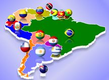 South America. A map of South America and all countries with their flags shaped as balls Stock Images