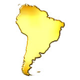 South America 3d Golden Map. Isolated in white Royalty Free Stock Photos