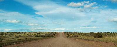Dirt road, landscape, freedom, South America, Argentina, Patagonia, Santa Cruz Province. Argentina, 21/11/2010: a dirt road in the boundless landscape of Royalty Free Stock Images