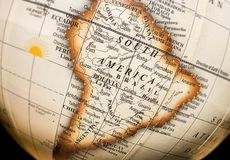 South America on atlas world map of the globe.  stock image