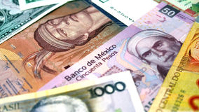 South America Banknotes. A group of banknotes from south America Royalty Free Stock Photo