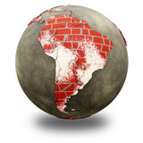 South America on brick wall Earth Royalty Free Stock Photography