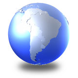 South America on bright metallic Earth Royalty Free Stock Photography