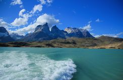 View of cuernos del paine. South America, Chile, Patagonia, View of cuernos del paine with lago Pehoe royalty free stock images