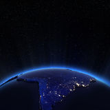 South America city lights at night Stock Images