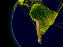 South America connections. South America viewed from space with connections representing main air traffic routes. Elements of this image furnished by NASA Royalty Free Stock Photography