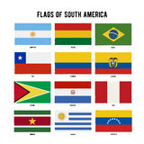 South America Continent Flag Pack. A hand drawn scratched flags with a grunge texture. Stock Photography
