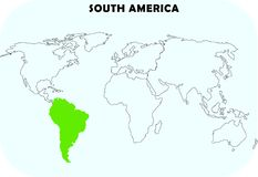 South America continent in world map. World map in sky blue back ground.south america continent highlighted in green color royalty free illustration
