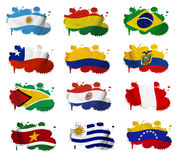 South America countries flag blots. On a white background Stock Photo