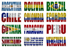 South America countries flag words. On a white background Stock Photography