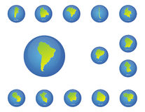 South america countries maps icons Stock Image