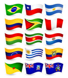 South America country flying flags set Royalty Free Stock Photography