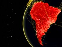 South America on dark Earth with network representing telecommunications, internet or intercontinental air traffic. 3D. Illustration. Elements of this image vector illustration
