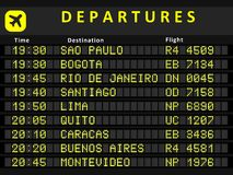 South America departures. Departure board - destination airports. Busiest airports in South America: Sao Paulo, Bogota, Rio de Janeiro, Santiago, Lima, Quito Stock Image