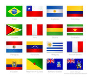 South America detailed flags set of all continent countries and Royalty Free Stock Image