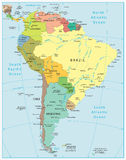 South America Detailed Map Stock Images