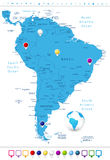 South America Detailed Map with Map Pointers Royalty Free Stock Photo